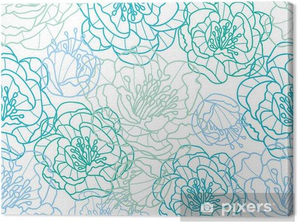 Tableau sur toile Vecteur ligne bleue des fleurs d'art élégant seamless - Fleurs