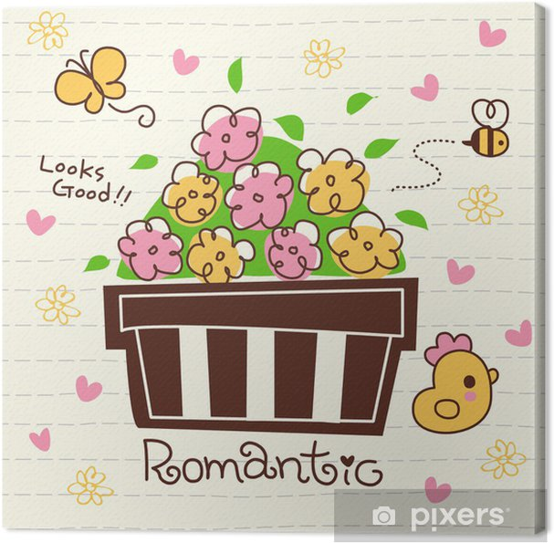 Tableau sur toile Vecteur mignon Pot de fleurs romantique - Maisons et jardins