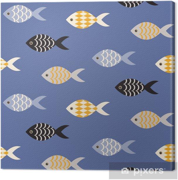 Tableau sur toile Vecteur noir et blanc poisson seamless. École de poisson en rangées sur motif bleu océan. thème marin d'été. - Animaux