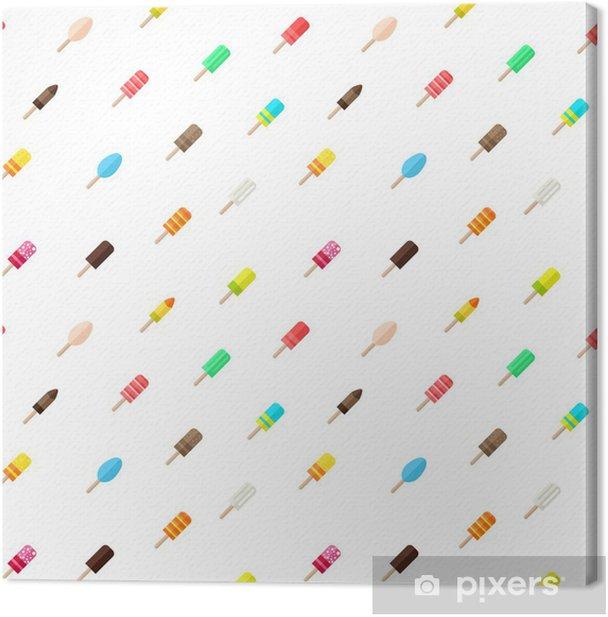 Tableau sur toile Vecteur seamless avec de la glace de style plat, diagonale - Repas
