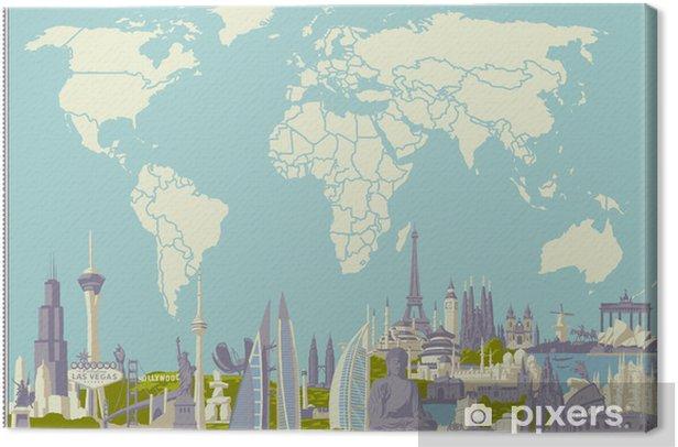 Tableau sur toile Vector carte du monde avec des monuments les plus célèbres - Vacances