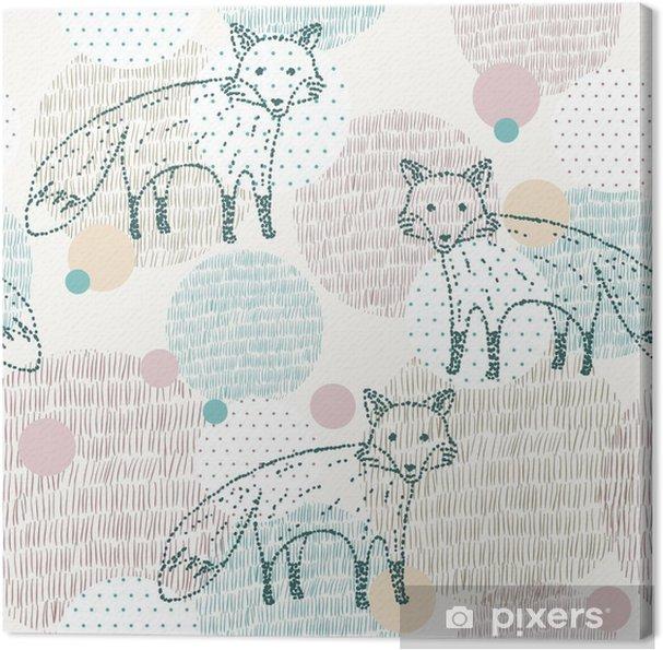 Tableau sur toile Vector dessinée motif géométrique transparente avec le renard - Animaux
