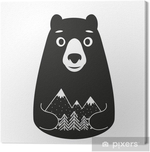 Tableau sur toile Vector illustration avec des montagnes ours de style de bande dessinée tenant et de pins - Animaux