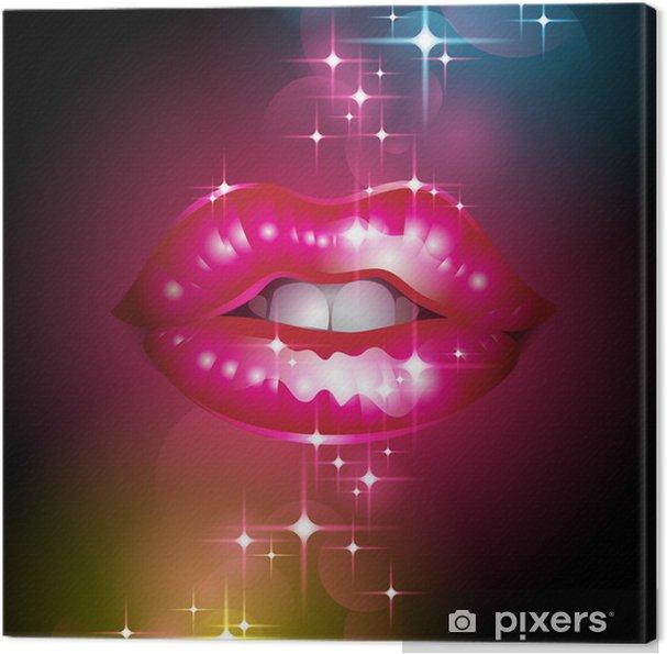 Tableau sur toile Vector illustration avec scintillantes lèvres sur un fond abstrait - Thèmes