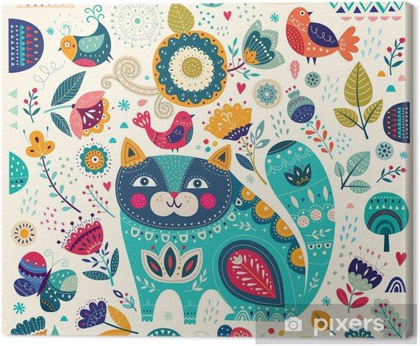 Tableau sur toile Vector illustration colorée avec chat belles, les papillons, les oiseaux et les fleurs - Animaux