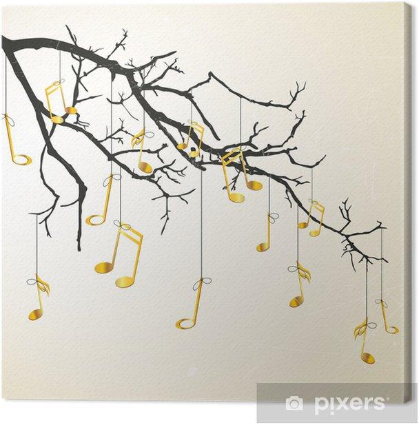 Tableau sur toile Vector illustration d'une branche avec des notes - Arbres