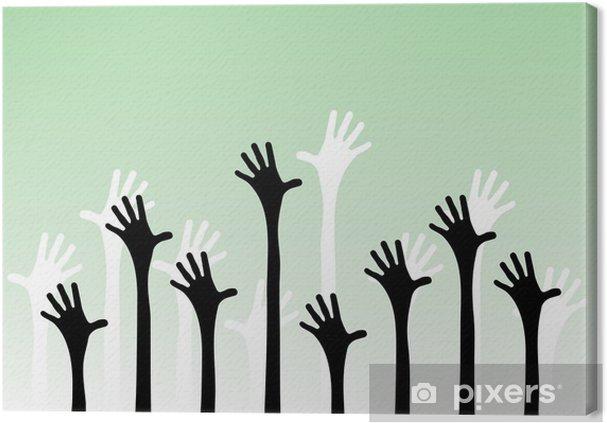 Tableau sur toile Vector illustration de mains tendues dans l'air. - Autres