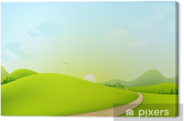 Tableau sur toile Vector illustration du paysage verdoyant de matinée ensoleillée - Art et création