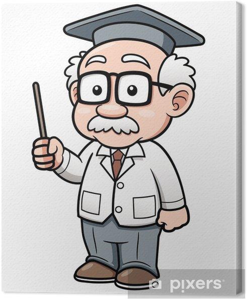 Tableau sur toile Vector illustration du professeur de dessin animé - Au travail