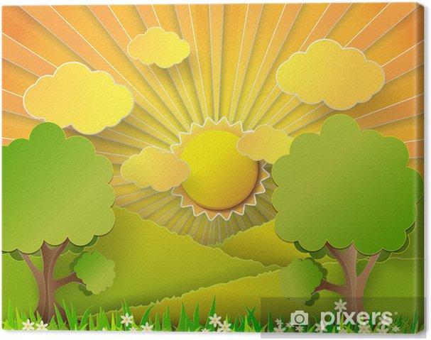 Tableau sur toile Vector illustration lever du soleil sur les champs. - Saisons