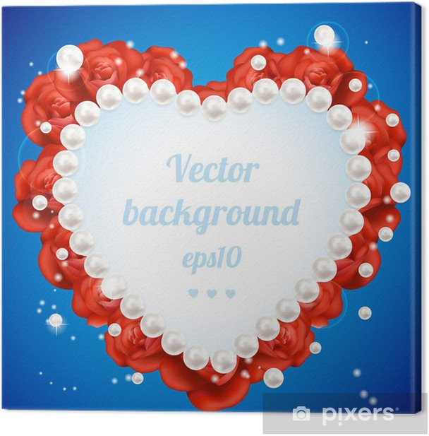 Tableau sur toile Vector Rose rouge Cadre en forme de coeur - Fleurs