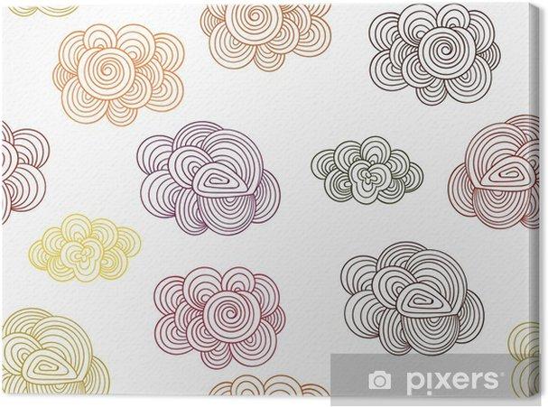 Tableau sur toile Vector Seamless Pattern with Autumn Doodle Clouds - Automne
