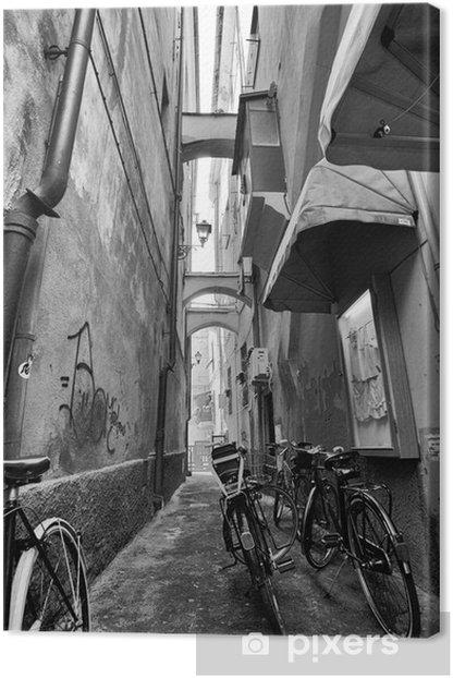 Tableau sur toile Vélos en petite ruelle - Thèmes