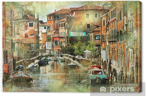 Tableau Sur Toile Venise Illustration Dans Le Style De La Peinture Pixers Nous Vivons Pour Changer