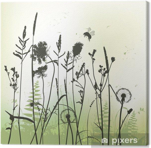 Tableau sur toile Véritable herbe silhouette avec bourdon - vecteur - Plantes