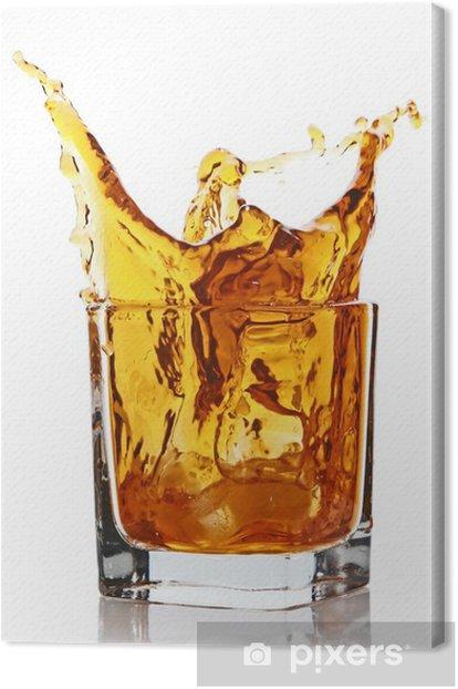 Tableau sur toile Verre à boire éclaboussures de whisky - Alcool