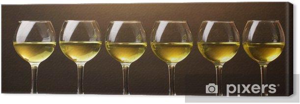 Tableau sur toile Verre à vin sur fond brun - Alcool