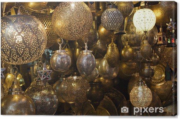 Tableau sur toile Verre marocain et lanternes lampes en métal à Marrakech souk - Afrique