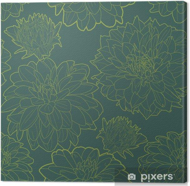 Tableau sur toile Vert motif floral vintage avec aster - Textures