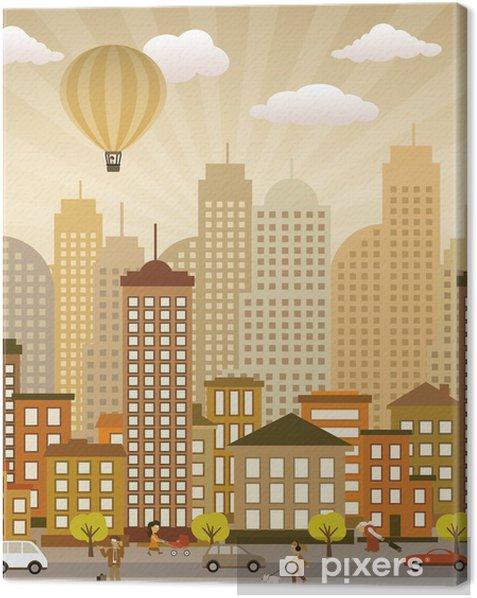 Tableau sur toile Vie de la ville basse (couleurs rétro) - Art et création
