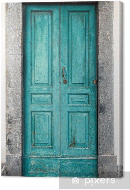 Tableau sur toile Vieille porte bleue - iStaging
