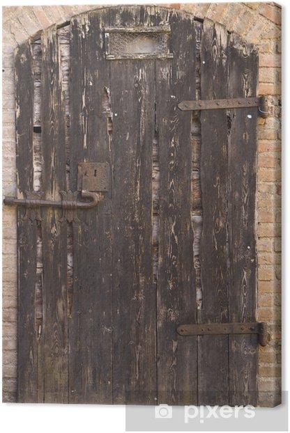Tableau sur toile Vieille porte de bois dans le château de Gradara - Industrie lourde