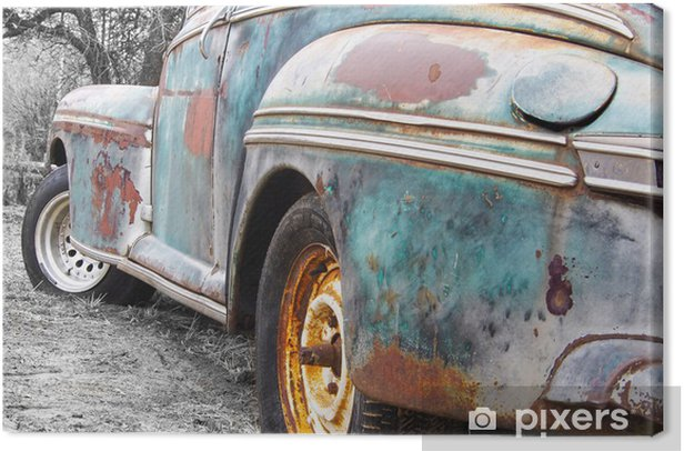 Tableau sur toile Vieille voiture rouillée - Textures