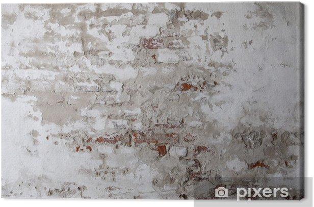 Tableau sur toile Vieux mur de brique rouge avec le béton fissuré - Thèmes