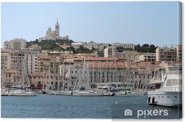Tableau sur toile Vieux-port et quai de Rive Neuve à Marseille - Vacances