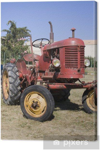 Tableau sur toile Vieux tracteur rouge - Agriculture