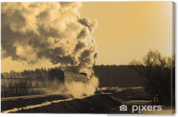 Tableau sur toile Vieux train à vapeur rétro - Thèmes