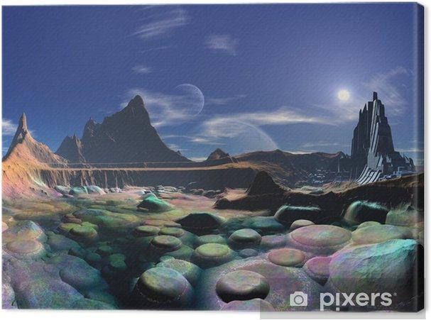 Tableau sur toile Ville Alien Shores sur de Rainbow Pebble Bay - Espace