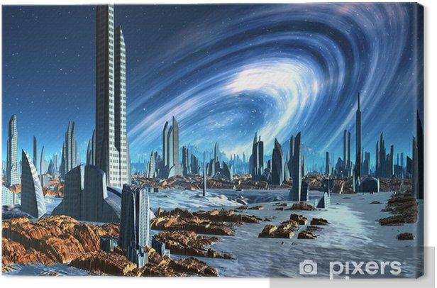 Tableau Sur Toile Ville Futuriste Alien Illustration D Ordinateur Pixers Nous Vivons Pour Changer