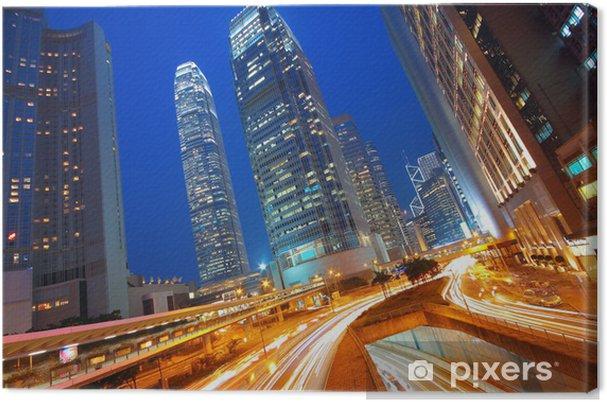 Tableau sur toile Ville urbaine moderne avec la circulation autoroutière de nuit, hong kong - Paysages urbains