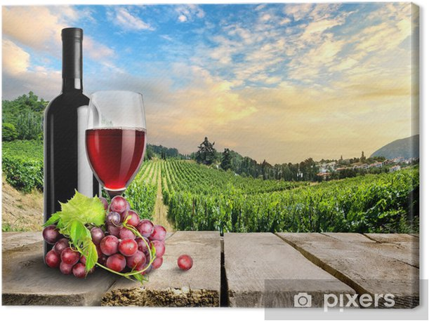 Tableau sur toile Vin avec du raisin et de la vigne - Thèmes
