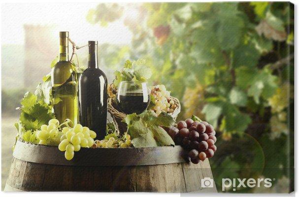 Tableau sur toile Vin avec tonneau et vignoble - Thèmes
