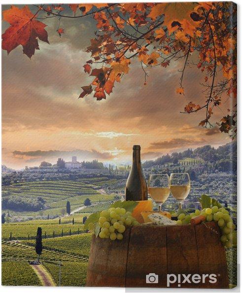 Tableau sur toile Vin blanc avec barell dans le vignoble, le Chianti, en Toscane, Italie - Automne