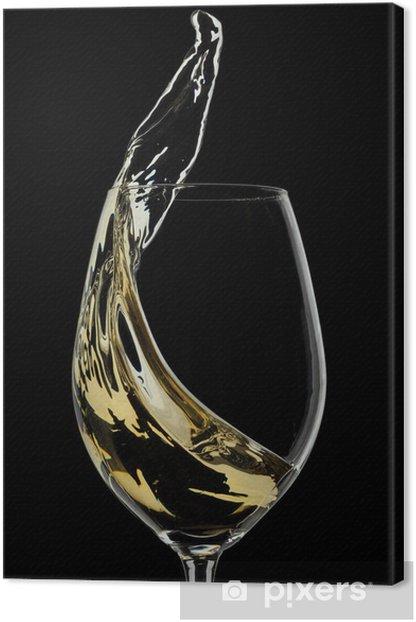 Tableau sur toile Vin blanc éclaboussures sur fond noir - Thèmes