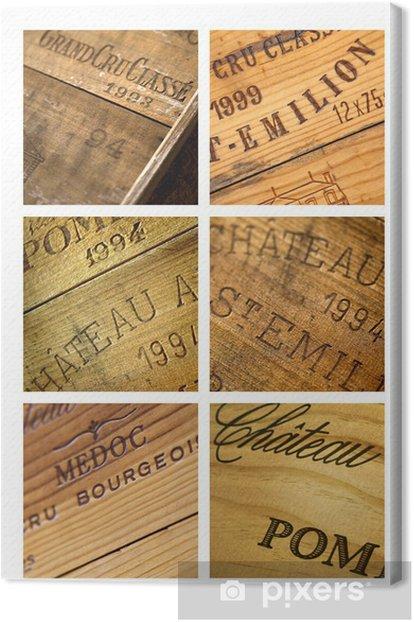 Tableau sur toile Vin, caisse, château, millésime, Bordeaux, chai, cave - Alcool