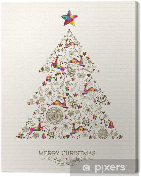 Tableau sur toile Vintage arbre carte de voeux de Noël - Fêtes internationales