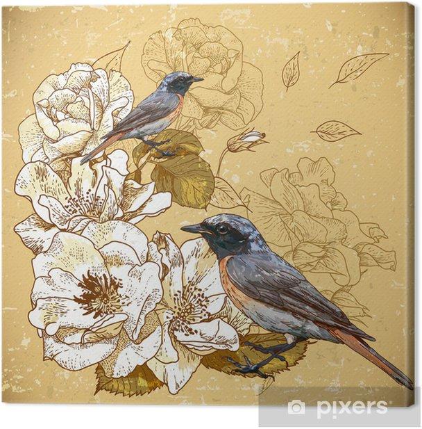Tableau sur toile Vintage fond floral avec des oiseaux - Styles