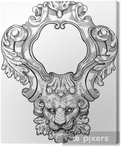 Tableau sur toile Vintage frame et tête de lion. Vector illustration - Art et création