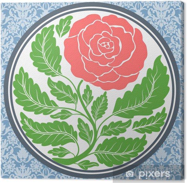 Tableau sur toile Vintage rose dans un cadre rond - Arrière plans