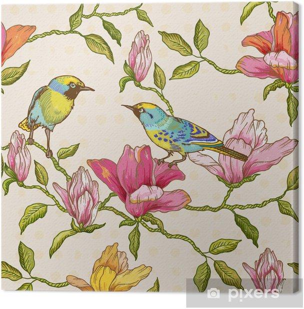 Tableau sur toile Vintage seamless - Fleurs et Oiseaux - Saisons