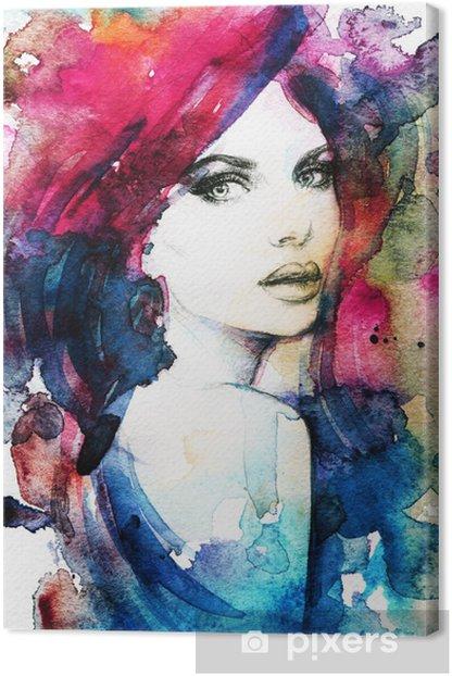 Tableau sur toile Visage de femme. Peint à la main illustration de mode - Femmes