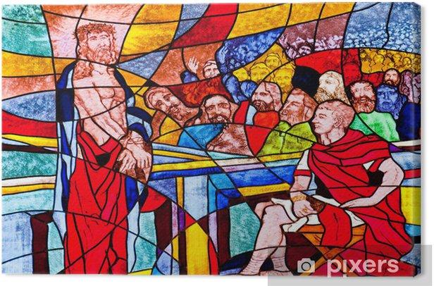 Tableau sur toile Vitrail montrant Jésus condamné à mort - Religion