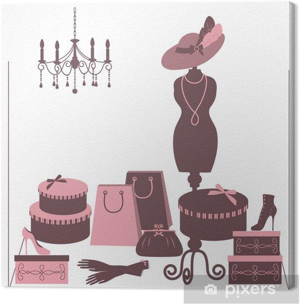 Tableau sur toile Vitrine boutique de mode avec des femmes accessoire. - Arrière plans