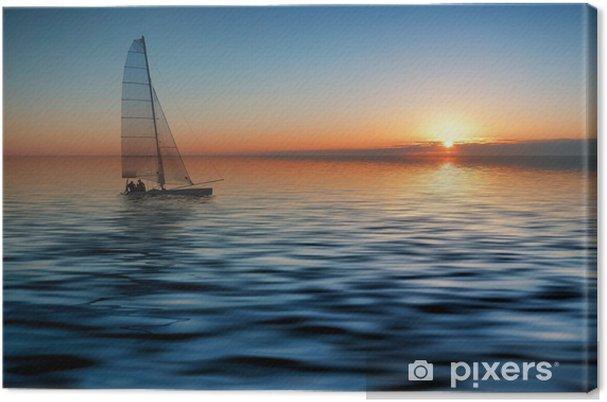 Tableau sur toile Voile au coucher du soleil - Vacances