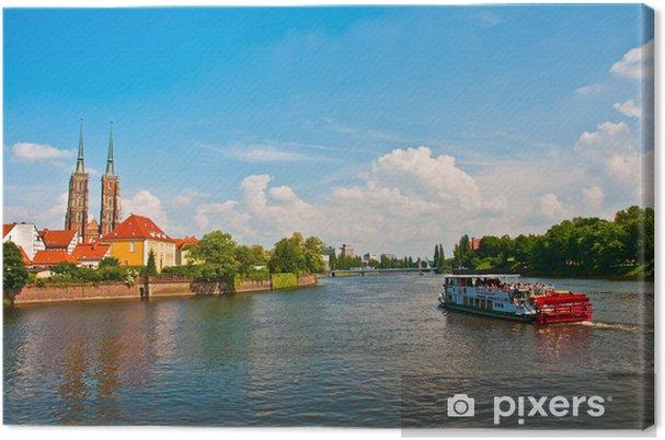 Tableau sur toile Voile touristique sur la rivière Odra, Wroclaw, Pologne - Thèmes