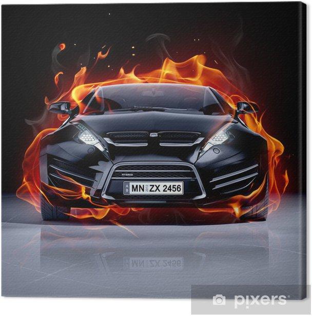 Tableau sur toile Voiture de feu sur la glace. Brandless voiture de sport. -